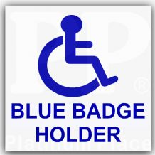1 x Disabled Blue Badge Holder Sticker-Disability Sign for Car,Van,Truck,Mobility,Self Adhesive Vinyl
